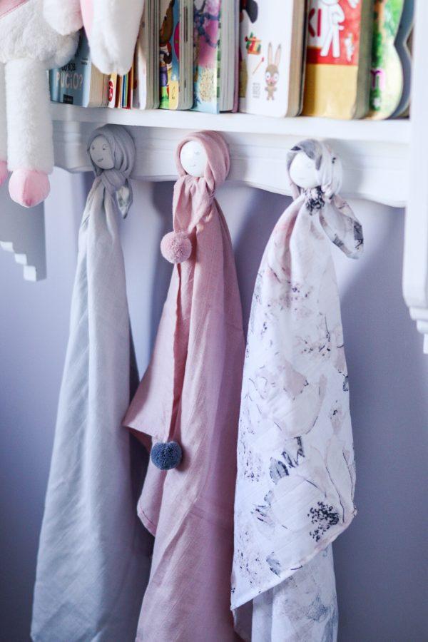 Ensemble de 3 pièces de Langes en Mousseline pink set