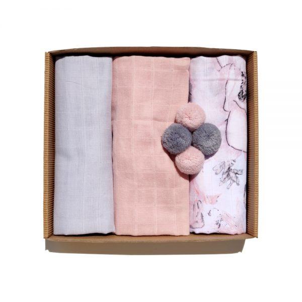 Ensemble de 5 pièces de Langes en Mousseline pink set