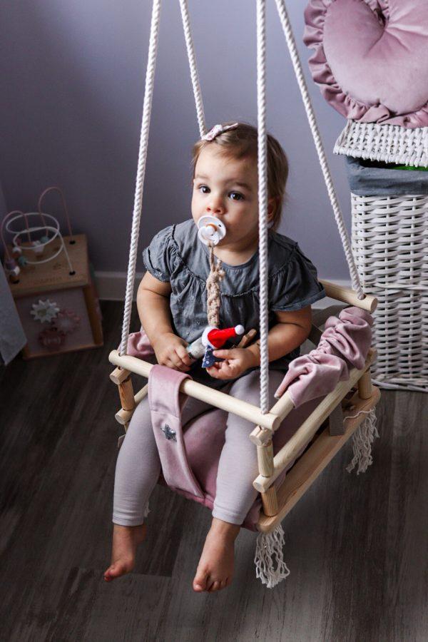 velours, balançoire en bois pour enfants coeur 3 en 1