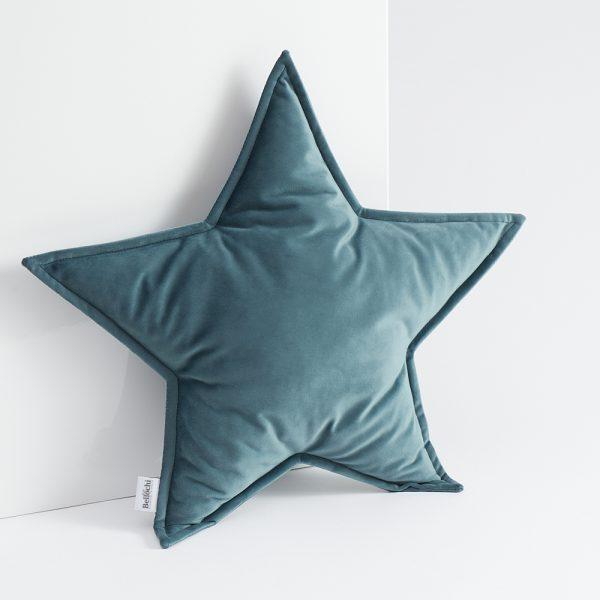 Oreiller décoratif en forme de d'étoile vert foncé