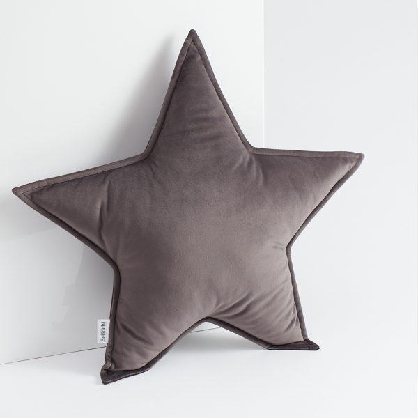 Oreiller décoratif en forme de d'étoilegris foncé