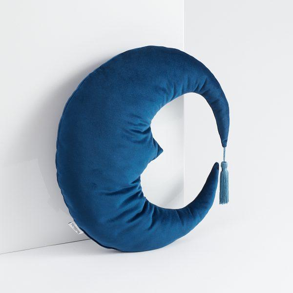 Oreiller décoratif en forme de Lune bleu foncé