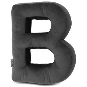 Oreiller décoratif en velours en forme de lettre B gris foncé